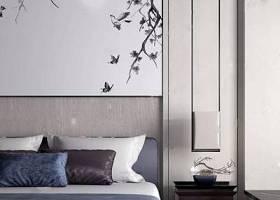 新中式布藝雙人床床頭柜吊燈組合3D模型下載 新中式布藝雙人床床頭柜吊燈組合3D模型下載