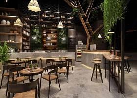 现代工业风咖啡店3D模型下载 现代工业风咖啡店3D模型下载