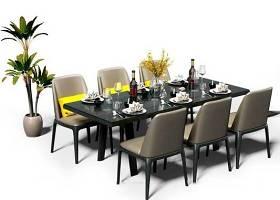 現代餐桌椅盆栽擺件組合3D模型下載 現代餐桌椅盆栽擺件組合3D模型下載