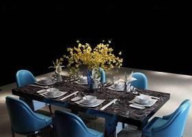 現代餐桌椅餐具花卉組合3D模型下載 現代餐桌椅餐具花卉組合3D模型下載