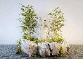 現代竹子假山園林小品3D模型下載 現代竹子假山園林小品3D模型下載