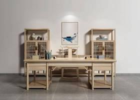 新中式书桌装饰柜组合3D模型下载 新中式书桌装饰柜组合3D模型下载