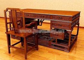 新中式棕色木艺办公桌椅组合3D模型下载 新中式棕色木艺办公桌椅组合3D模型下载