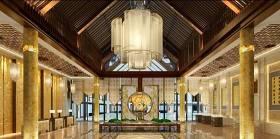 新中式酒店大堂 新中式玻璃吊灯3D模型下载 新中式酒店大堂 新中式玻璃吊灯3D模型下载