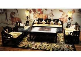 传统中式黑色木艺沙发茶几组合3D模型下载 传统中式黑色木艺沙发茶几组合3D模型下载