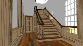 古典樓梯 樓梯 樓梯扶手 SU模型下載 古典樓梯 樓梯 樓梯扶手 SU模型下載
