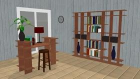 工作台和墙壁架由智能家具组成的工作空间SU模型下载 工作台和墙壁架由智能家具组成的工作空间SU模型下载