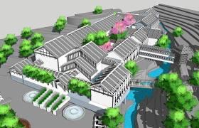 中式山地酒店SU模型下载 中式山地酒店SU模型下载