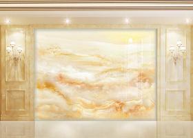 原创大理石纹山水石纹旭日东升大理石纹背景墙-版权可商用