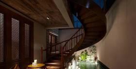 传统中式家居玄关 传统中式棕色旋转楼梯 假山山水3D模型下载 传统中式家居玄关 传统中式棕色旋转楼梯 假山山水3D模型下载