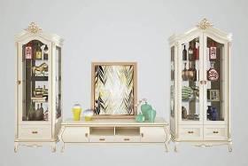 歐式實木雕花電視柜擺件組合3D模型下載 歐式實木雕花電視柜擺件組合3D模型下載