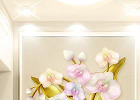 原创高清3D立体浮雕蝴蝶兰简约欧式玄关背景墙-版权可商用