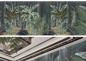 原创欧式手绘中世纪热带雨林背景墙-版权可商用