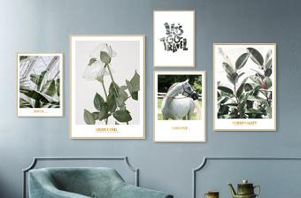 原创北欧ins小清新现代简约热带绿植组合画客厅挂画装饰画-版权可商用