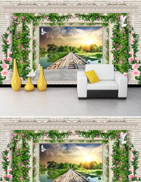 原创梦幻花藤欧式罗马柱木板桥唯美风景电视沙发背景墙-版权可商用