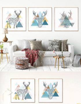 原创现代简约北欧几何麋鹿客厅三联装饰画-版权可商用