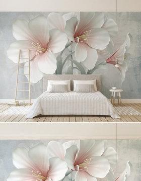 原创创意新款花卉3d立体浮雕花朵电视背景墙-版权可商用
