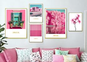 原創北歐ins現代簡約粉紅色小清新風景花卉組合照片墻裝飾畫-版權可商用