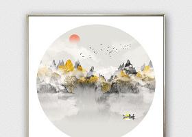 原创现代抽象水墨山水鎏金客厅中式山水装饰画