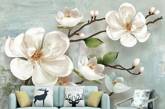 原创北欧3d立体浮雕玉兰花现代简约电视背景墙-版权可商用