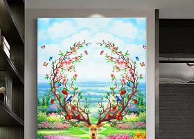 原创北欧简约油画麋鹿田园风光风景玄关背景墙-版权可商用