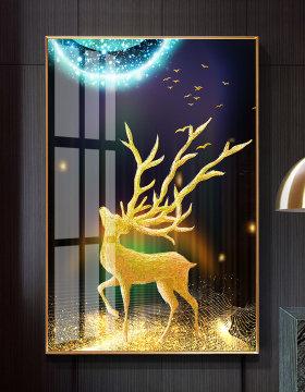 原创现代简约金色抽象发财麋鹿玄关装饰画晶瓷画-版权可商用