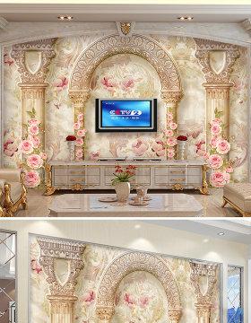 原创欧式花纹罗马柱电视沙发背景墙壁画-版权可商用