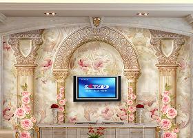 原創歐式花紋羅馬柱電視沙發背景墻壁畫-版權可商用