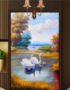 原创欧式手绘油画天鹅湖唯美风景玄关装饰画-版权可商用
