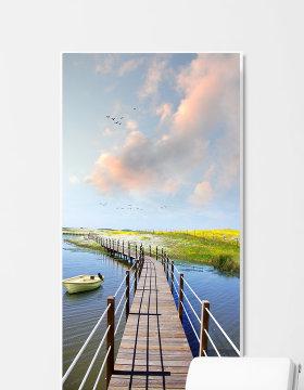 原创现代简约唯美天空彩霞木桥风景装饰画-版权可商用