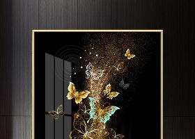 原创现代时尚金箔抽象蝴蝶意境客厅北欧装饰画晶瓷画-版权可商用