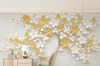 原创新款清新柠檬黄3d立体浮雕花朵简约背景墙-版权可商用