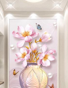 原创高清新中式现代简约花开富贵花瓶玄关背景墙装饰画-版权可商用