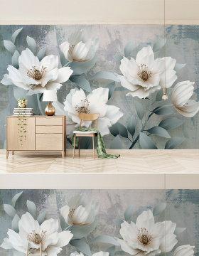 原创复古简约3d立体浮雕花朵电视背景墙-版权可商用
