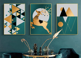 原创现代简约ins几何抽象山水金色轻奢装饰画-版权可商用