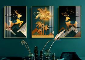 原创美式复古麋鹿椰树现代简约三联轻奢装饰画-版权可商用