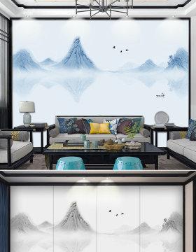 原创新中式抽象水墨山水风景线条背景墙装饰壁画-版权可商用
