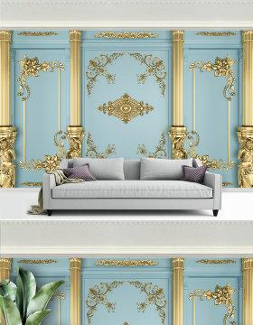 原创3d金色轻奢侈欧式雕花背景墙-版权可商用