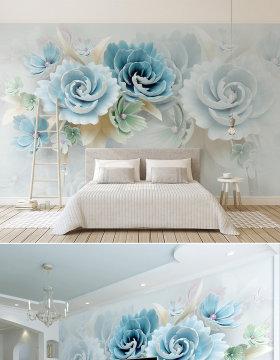 原创新款3d立体浮雕花朵蓝色清新电视背景墙-版权可商用