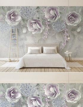 原创新款淡紫色花卉3d立体浮雕花朵电视背景墙-版权可商用