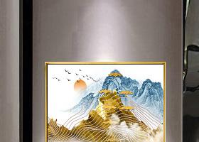 原创现代艺术简约轻奢水墨飞鸟抽象艺术线条装饰画-版权可商用