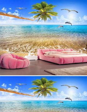 原创美丽海景椰树爱情海豚电视背景墙-版权可商用