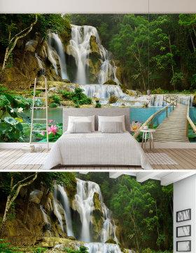 原创山水瀑布3D风景背景墙壁画-版权可商用