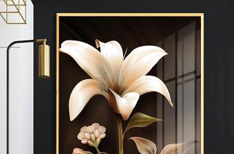 原创手绘百合花现代简约金色花卉轻奢玄关装饰画-版权可商用