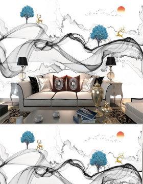 原创新中式抽象山水风景电视背景墙-版权可商用