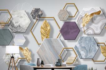 原创北欧现代简约石纹立体几何金色叶子电视背景墙壁画-版权可商用