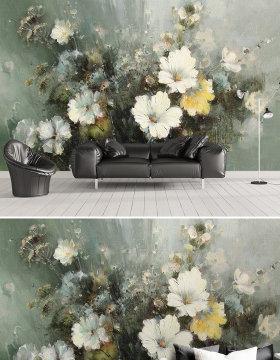 原创欧式油画花卉电视沙发背景墙壁画装饰画挂画-版权可商用