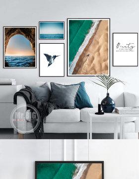 原创北欧简约现代相框墙照片墙组合文艺装饰画