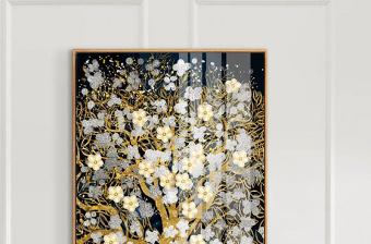 原创新中式轻奢抽象艺术吉祥富贵福禄发财树装饰画-版权可商用