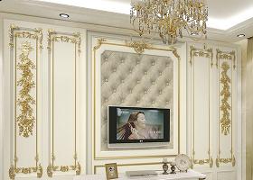 原创奢华欧式宫廷金色雕花3d软包背景墙-版权可商用